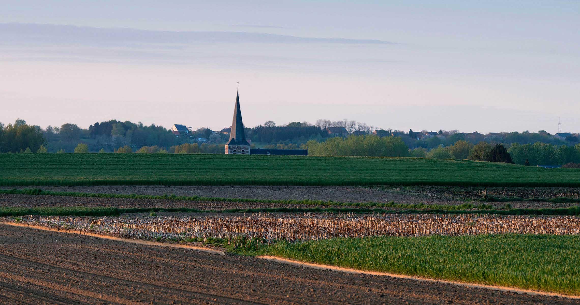 Fields valleys church tower